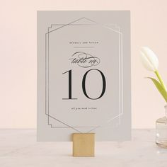 """""""Vision"""" - Customizable Foil-pressed Wedding Table Numbers in Black by carly reed walker. Wedding Stationery, Wedding Invitations, Wedding Table Numbers, Weddingideas, Place Card Holders, Mint, Paper, Modern, Artist"""