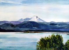Mount Baker from Harborview Park - Original Plein-air Watercolor - Archivally Matted and Mounted by FallenLeavesFineArt on Etsy