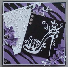 Hand made Birthday card using Tattered Lace shoe die. By Linda Fraser lace wedding card Birthday Cards For Women, Handmade Birthday Cards, Making Greeting Cards, Greeting Cards Handmade, Tattered Lace Cards, Purple Cards, Spellbinders Cards, Dress Card, Beautiful Handmade Cards