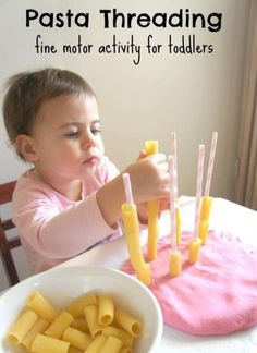 Pasta Threading - a fine motor activity for toddlers Simple pasta threading activity for toddlers to do using play dough and straws. Great for fine motor development and hand/eye coordination. Lots of fun too. Motor Skills Activities, Toddler Learning Activities, Montessori Activities, Infant Activities, Kids Learning, Educational Activities, Activities For 2 Year Olds Indoor, Baby Learning Activities, Nursery Activities
