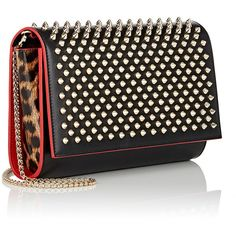 Christian Louboutin Paloma Chain Clutch ($1,150) ❤ liked on Polyvore featuring bags, handbags, clutches, chain strap purse, leopard print purse, leopard print handbags, leopard purse and leopard handbag