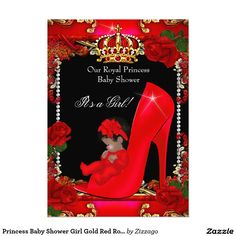 Princess Baby Shower Girl Gold Red Rose Shoe 2 5x7 Paper Invitation Card