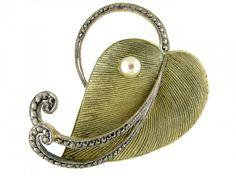 Theodor Fahrner Silver Gilt Leaf Brooch Art Deco