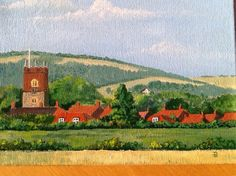 """""""Before the Developers"""" a painting of Market Weighton from a 1983 photograph taken South of the town."""