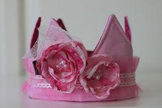 Girls Pink Fabric Crown, Princess Birthday Hat, Photo Prop - Pinkalicious