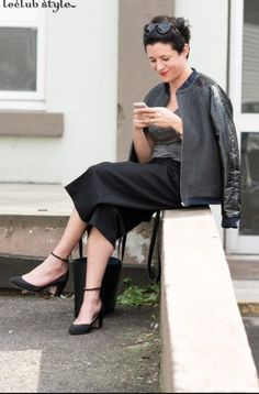 black wool and black leather Garance Dore