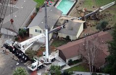 Michelle and Kevin McCarthy returned to their home in Santa Rosa, California to find it destroyed when a 90ft 50-ton crane toppled over crashing into their house and cutting it virtually in half.