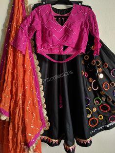 Ready to be shipped from USA. Contact Priti on Customized Detail worked chaniya Choli. Ready to be shipped from USA. Contact Priti on Chaniya Choli For Kids, Chaniya Choli Designer, Garba Chaniya Choli, Garba Dress, Navratri Dress, Bridal Lehenga Choli, Choli Dress, Choli Blouse Design, Choli Designs