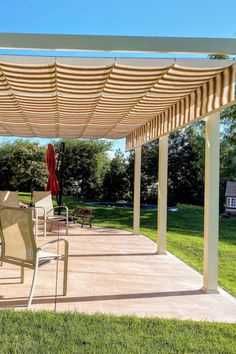 77 striped fabric retractable canopies