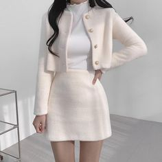 Adrette Outfits, Cute Skirt Outfits, Kpop Fashion Outfits, Girls Fashion Clothes, Girly Outfits, Cute Casual Outfits, Stylish Outfits, Clothes Women, Stylish Girl