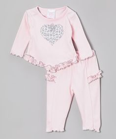 Take a look at this Pink Cheetah Heart Ruffle Tunic & Leggings by Too Sweet on #zulily today!