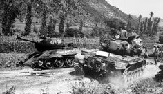 "***** ""Battle of Masan""(Aug.5~Sept.19,1950) ,Pusan Perimeter , Korean War.***** After famous address of Gen.Walker(Co.8th US Army) , ""Stand or Die !""--scold severely to shaken 1st Cav.Div & 25th Inf. Div 25th Div.(Co.Gen.Kean) immediately moved to Masan and made Kean Task Force( 25th Div.+5th Regimental Combat Team + 1st Provisional Marine Brigade) to encounter N.K.6th Inf.Div. Photo--- 1st involved Marine's M-26 Pershing tanks advance  alongside destroyed T-34/85 tanks.( Google & Young"