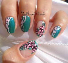 """ValAngel Nails Art: Nail art """"Pink Floral"""""""