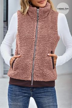 Winter Style // Women's fleece vest features full-zip design with high collar design, allows for venting or full coverage. Fleece lightweight vest jackets for women, causal fleece zip up vest, fleece lounge vest for women.