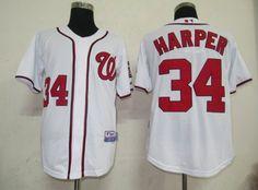 $22.00 MLB Jerseys Washington Nationals Bryce Harper #34 White