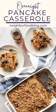 This Overnight Pancake Casserole makes having pancakes for breakfast even easier! With a crunchy crumb topping and easy overnight rest, all you have to do to get this on the table is wake up and pop them in the oven!
