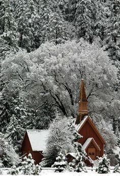 Little chapel in the snowy woods. Love