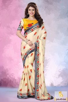 Make the perfect style with this occasionl wear yellow off white satin patti casual saree. It is just a right choice for with orange and grey floral prints.  #printedsaree, #dailywearsaree. #casualsaree, #onlinesarees, #fancyblouse, #pearchcolorsaree http://www.pavitraa.in/store/casual-saree/