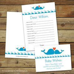 Whale-themed baby shower game dear baby customizable