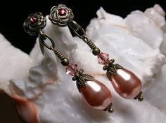 Rose Peach Pink Swarovski Crystal Pearl Earrings, Antiqued Bronze Filigree, Titanic Temptations Vintage Victorian Bridal Style Jewelry