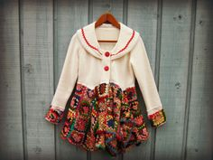 Sm. Upcycled Granny Square Crochet Jacket Blazer// by emmevielle $135.  Enter PIN10 for 10% off.