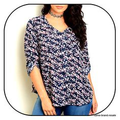 TORRID NWT $44 Womens PLUS 1 1X 14 16 Navy Blue Floral Long Sleeve SHIRT Top NEW #Torrid #Blouse #Casual