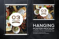 Hanging Poster Mockup by YD-LABS on @creativemarket