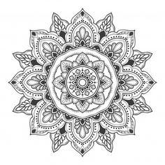 Mandala flower illustration for multiple purpose Premium Vector Mandala Tattoo Design, Mandala Print, Mandala Drawing, Mandala Pattern, Pink And White Background, Trippy Drawings, Leaf Illustration, Doodle Patterns, Flower Doodles