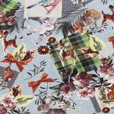 Jersey Katoen Digitale Print - Animal Picnic