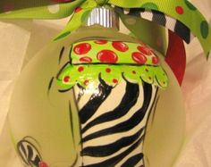 Christmas Ornament Hand Painted Glass Lime by SassyfrasDesignz