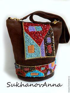 """Купить Сумка-рюкзак """"Город-сказка"""" - коричневый, сумка-рюкзак, сумка-трансформер, сумка замшевая"""