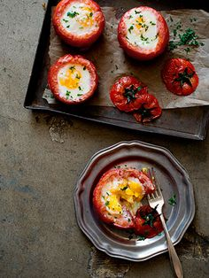 Baked eggs in tomatoes. If you want dairy-free, leave out the parmesan. Can also add any seasonings you may like!