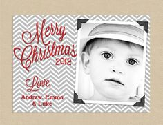 Printable Chevron Holiday Christmas Photo Card 4x6 by seedtosprout  - Photo by Three Wishes Photography