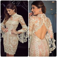 DRESS maravilhoso, de renda delicada com um leve brilho dourado,  disponível pra comprar no ig ✨@closetdamay ✨