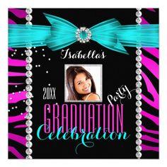Graduation Party Grad Pink Teal Blue Zebra Photo 5.25x5.25 Square Paper Invitation Card