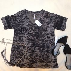 Forever 21 Burnout Tee BNWT Rock out with this burnout style tee with mesh striped sleeves!  Brand is Tresics for F21. Forever 21 Tops Tees - Short Sleeve