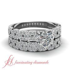 1 Carat Heart Shaped VS2 Diamond Square Block Wedding Rings Pave Set F-Color GIA