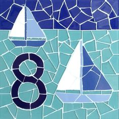 Yacht Design Mosaic House Number Plaque by jenzartcreations, $74.76