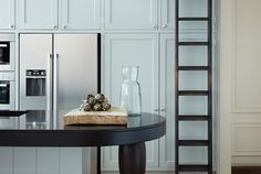 Zoffany - Luxury matt emulsion, eggshell and gloss paint for interior walls, and interior and exterior woodwork and metal. Blue Kitchen Paint, Blue Kitchen Island, Blue Kitchen Cabinets, Interior Walls, Kitchen Interior, Interior And Exterior, Zoffany Paint, Painted Cupboards, Dining Room Bar