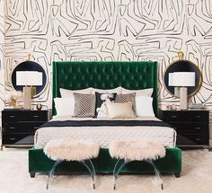 Amelia Tall Bed, Vance Emerald - Dream in Green - Bedroom - Room Ideas Small Apartment Bedrooms, Apartment Bedroom Decor, Bedroom Furniture, Bedroom Interiors, Small Bedrooms, Black Furniture, Luxury Furniture, Antique Furniture, Diy Furniture