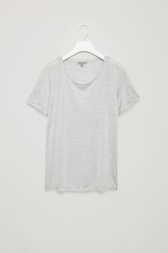 COS image 2 of Silk jersey t-shirt in Light Grey