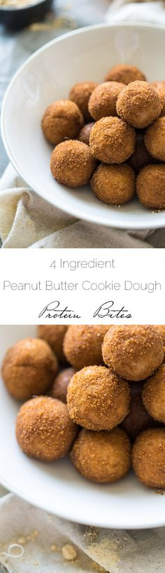 4 Ingredient Peanut Butter Cookie Dough Protein Bites - Ready in 5 mins, NO bake and gluten free + grain free! Tastes just like cookie dough!