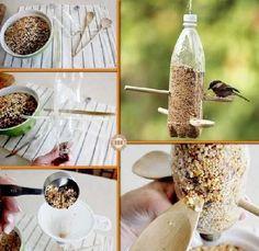 fabriquer distributeur graines pour oiseaux avec bouteille recyclée