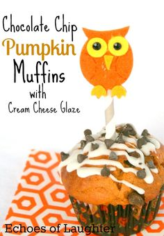 Chocolate Chip Pumpkin Muffins with Cream Cheese Glaze. Moist & tasty.