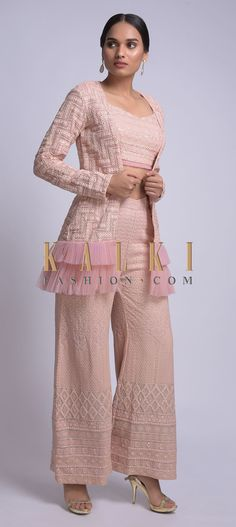 Lemonade pink georgette palazzo and crop top set with matching jacket. Palazzo pants embellished with lucknowi thread work. Stylish Dress Designs, Dress Neck Designs, Stylish Dresses, Blouse Designs, Western Dresses, Indian Dresses, Indian Outfits, Indian Designer Outfits, Designer Dresses