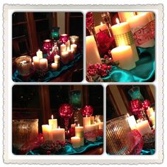 Table centerpiece for the Christmas season: teal satin, tons of candles (some wrapped in scrapbook paper to add color and pattern to the look), mercury glass  and mosaic candle holders, red poinsettias, snowy twigs with berries, and red glittery ribbon.