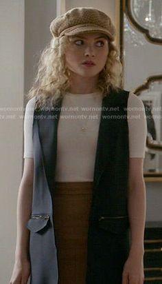 Grace's navy blue vest on Scream Queens.  Outfit Details: http://wornontv.net/53064/ #ScreamQueens