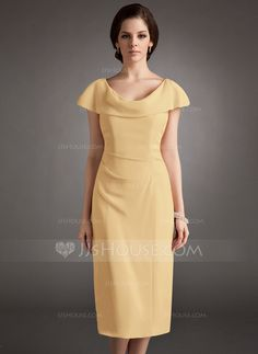 Mother of the Bride dress, in gold, turquoise, or burgundy Sheath/Column Cowl Neck Knee-Length Chiffon Mother of the Bride Dress With Ruffle (008005704)