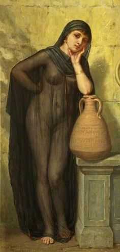 """""""Egyptian water carrier"""" by Arthur Hill, 1881. I suspect Hill was influenced by the """"tob"""" full-body robes of transparent gauze that Edward Lane described 19th century Egyptian street dancers wearing."""
