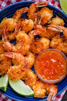 Coconut Shrimp with 2 Ingredient Dipping Sauce: Coconut Shrimp are crisp on the outside with succulent juicy shrimp inside. Do not skip the 2 ingredient coconut shrimp sauce and squeeze of lime juice. Coconut Shrimp Dipping Sauce, Baked Coconut Shrimp, Coconut Shrimp Recipes, Fish Recipes, Seafood Recipes, Recipies, Fried Shrimp Recipes, Dipping Sauces, Shrimp Dishes